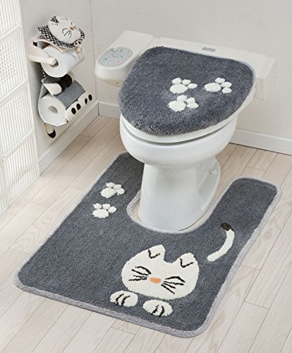 Tortoise Pretty Cat Series Toilet Lid cover Bathroom Grey 46714 from Japan by Tortoise