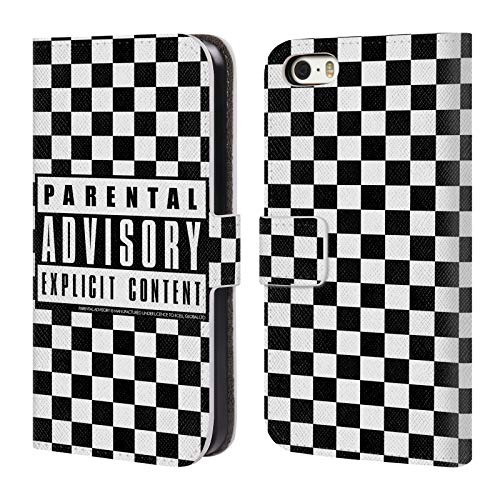 Official Parental Advisory Checkered Urban Street Style Leather Book Wallet Case Cover for iPhone 5 iPhone 5s iPhone SE