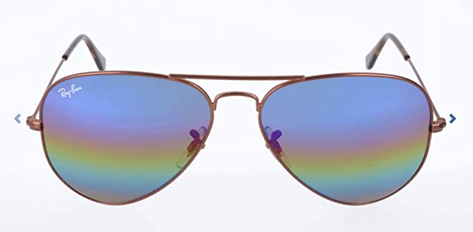 Ray-Ban Aviator Large Metal, Gafas de sol para Hombre, Marrón (Blue Rainbow Flash), 58