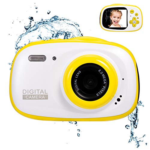 Abdtech Gifts Underwater Camera for Kids, Action Cameras Toy for 5-10 Year Old Girls Boys Teen Built in Three Game Movie Music Player with 16GB SD Card, Gift for Girls (Yellow)