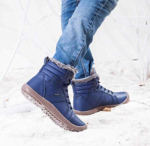 Pelliccia Caviglia Neve Caldo Scarpe Invernali Stivaletti Impermeabile Stivali Blu All'aperto Amitafo Stringate Donna Scarpe Uomo da Sportive Boots 5PvnRxwqgw