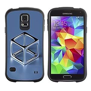 Suave TPU Caso Carcasa de Caucho Funda para Samsung Galaxy S5 SM-G900 / Chrome Cube / STRONG