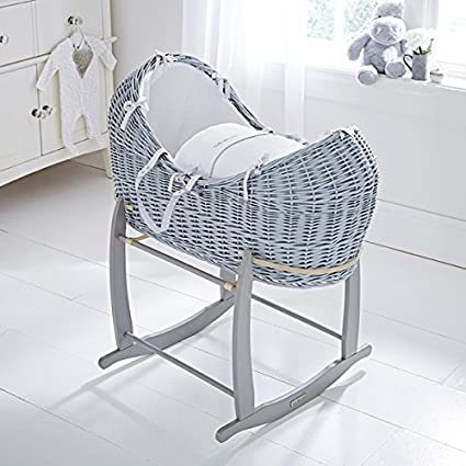 Grey Clair de Lune Silver Lining Grey Wicker Moses Basket