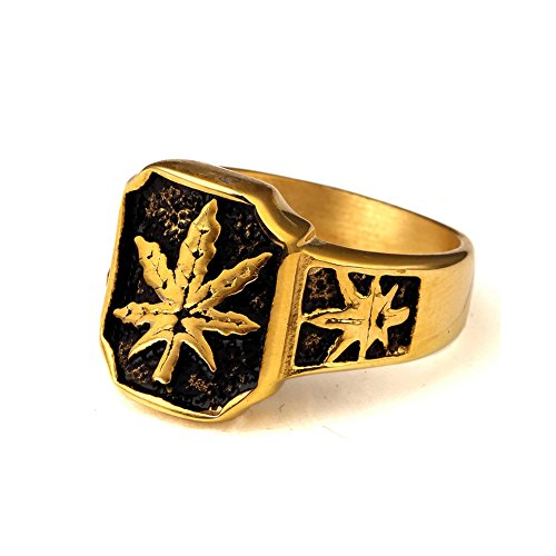 TUVW Weed Leaf Male Hip Hop Rings(11) (Oval Tension Set Ring)