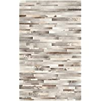 Safavieh Studio Leather Collection STL218A Handmade Grey and Ivory Leather Runner (23 x 7)