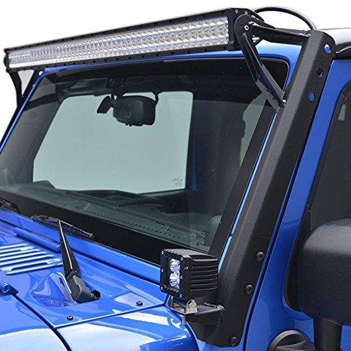 Jeep wrangler light bar amazon u box solid steel straight 54 led light bar upper windshield mounting brackets for 2007 2017 jeep wrangler jk wrangler unlimited 1 pair aloadofball Gallery
