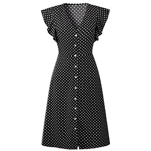Pevor Women's Summer Casual Dress V Neck Polka Dots Ruffle Short Sleeve Swing Midi Dress Black M from Pevor