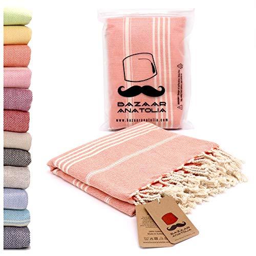 (Bazaar Anatolia Turkish Towel 100% Cotton Peshtemal Towel 70x37 Thin Travel Camping Bath Sauna Beach Gym Pool Blanket Fouta Towels (Orange))