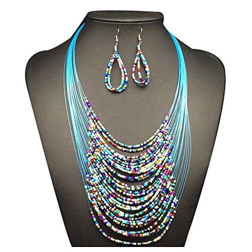 Darkey Wang Woman Fashion Bohemian Braided Multilayer Beaded Necklace Earrings - Arm Repair Glasses How Broken To