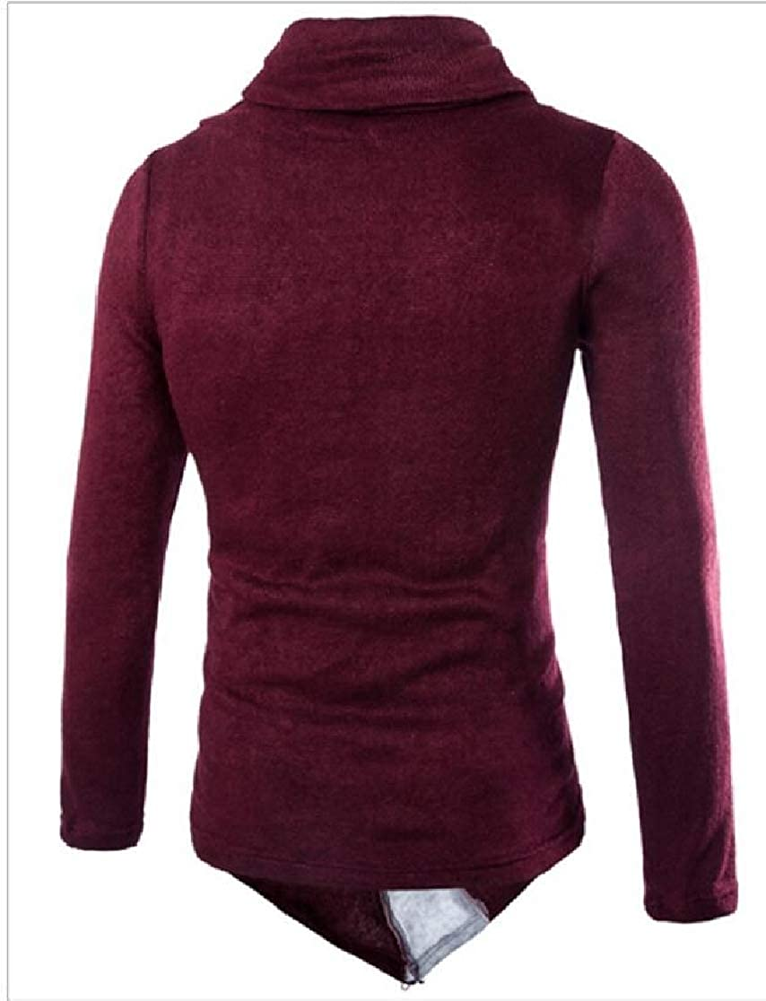 M/&S/&W Men Pullover Cowl Neck Long Sleeve Diagonal Zipper Casual Knitted Sweater