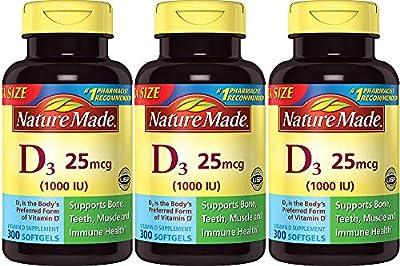 Nature Made Vitamin D3 1000 IU, 300 Count (3 Bottles)
