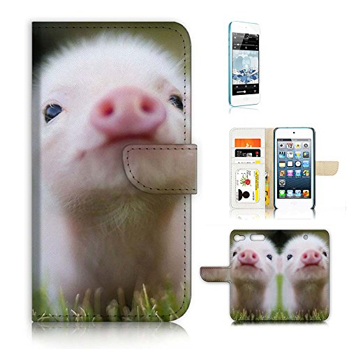 ( For iPod Touch 5 6 / iTouch 5 6 ) Flip Wallet Case Cover & Screen Protector Bundle - A21276 Cute Baby Pig (Pig Ipod Touch 5 Case)