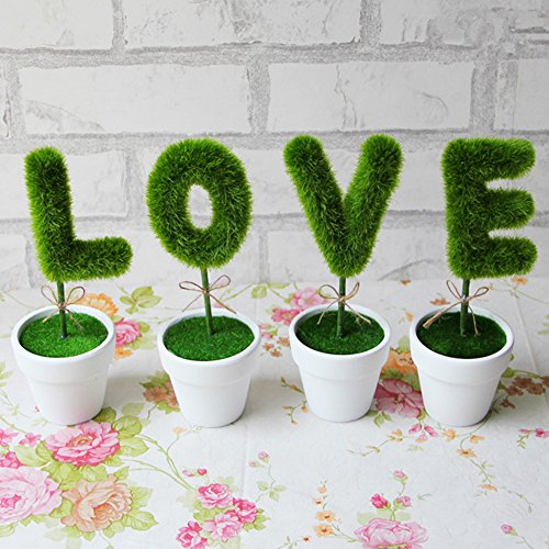 m·kvfa 4Pcs Love Simulation Plant Pot Gift Artificial Flower Plant Home Decor Art Hotel Office Wedding Party Garden Craft Art Decoration