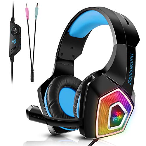 PS4 Headset, Tenswall Gaming Headset for Xbox One,PC, LED Light Over-Ear Stereo Sound Gaming Headphone with Mic Noise Cancelling & Volume Control for Laptop, Tablet, Mobile,Blue