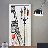 Gzhihine custom made 3d door stickers Paris Decor Romantic Floral Watercolor Image of Eiffel with Butterfly Historical French Heritage Artwork Decor Multi For Room Decor 30x79