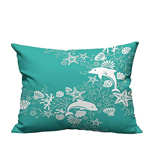 Shells Croscill (YouXianHome Throw Pillow Cover for Sofa Animals Dolphins and Flowers Sea Floral Pattern Starfish Coral Seashell Wallpaper Pa Textile Crafts (Double-Sided Printing) 19.5x26 inch)