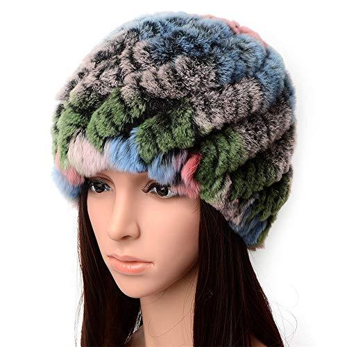 Manka Vesa Women Real Rex Rabbit Fur Winter Hat Knit Warm Lady Beanie (Hat Rex Rabbit)