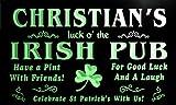 qv235-g Christian's Luck o' the Irish Pub St. Patrick's Shamrock Neon Sign