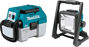 Makita XCV11Z 18V LXT Lithium-Ion Brushless Cordless 2 Gallon HEPA Filter Portable Wet/Dry Dust Extractor/Vacuum, Tool Only & DML805 18V LXT Lithium-Ion Cordless/Corded 20 L.E.D. Flood Light, Only