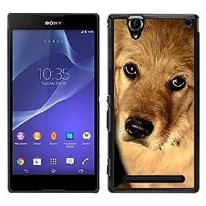 EJOY---Cubierta de la caja de protección para la piel dura ** Sony Xperia T2 Ultra ** --Perro del golden retriever Cachorro Canino