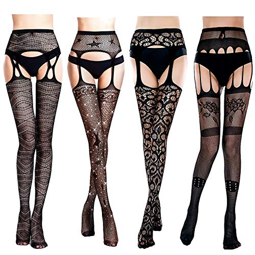 Suspender Style Pantyhose (4 Pairs Fishnet Stockings Woman's Black Lace Fishnet Leggings Tights Net Pantyhose Top Thigh-High Suspender Stockings (Style A))