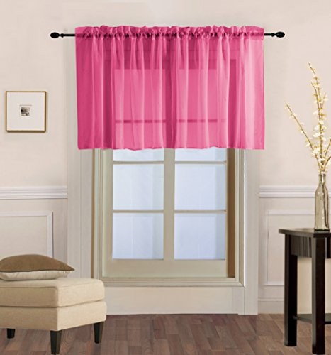 GorgeousHome  1PC Solid Hot Pink Fuchsia Voile Sheer Versati