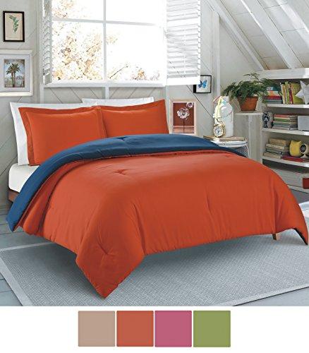 Comforter Willow - Willow Grove Solid Color Microfiber Reversible Comforter set, Flame/Blue Indigo, Full/Queen