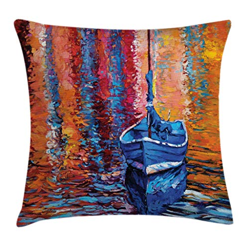 Ambesonne Country Throw Pillow Cushion Cover, Pastel Color Paint Fishing Sail Boat in The Sea Dark Fairy Image Dramatic Art Work, Decorative Square Accent Pillow Case, 16