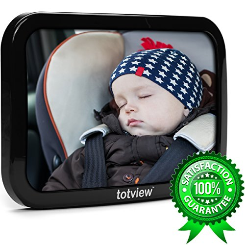 Baby Back Seat Car Mirror - BEST Rear Facing Car Seat View - Easily See Your Infant in the Back Seat. 10.2 Inch XL Mirror, Double Straps For Secure Fit, Shatterproof + FREE Baby-On-Board Sign