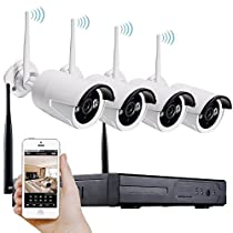 FAIRY POCKET 4 channel Wireless WIFI Network Video Recorder surveillance kit , 4pcs 720P HD IP digital cameras , cellphone remote view control