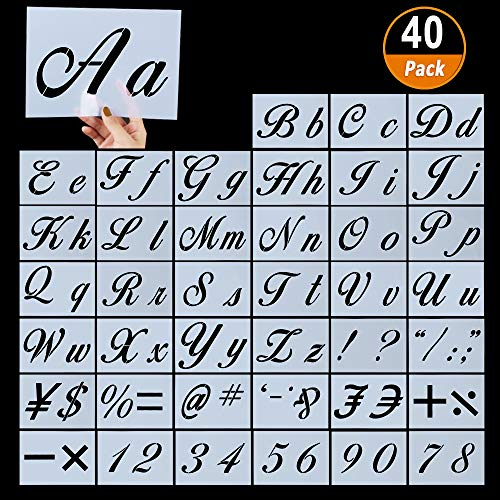 """40 Pieces Letter Stencils for Painting on Wood, Reusable Plastic Alphabet Stencils with Calligraphy Font Upper and Lowercase Letters, Numbers and Signs, 8.27""""x5.9"""""""
