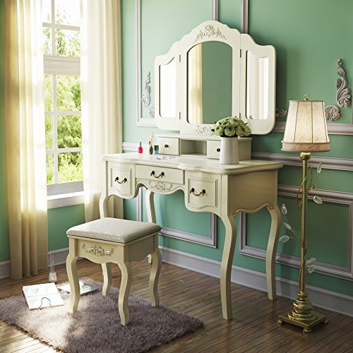 Amazon.com: Tribesigns French Vintage Ivory White Vanity Dressing Table Set  Makeup Desk with Stool & Mirror Bedroom: Kitchen & Dining - Amazon.com: Tribesigns French Vintage Ivory White Vanity Dressing