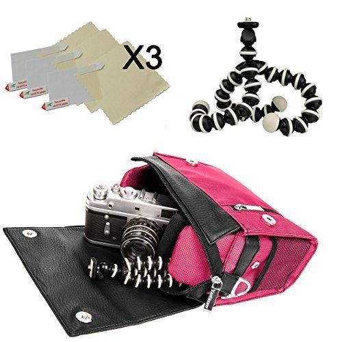 Magenta Metric DSLR&SLR Camera Bag w/x3 Screen Protector + 6'' Tripod for Olympus Stylus 1s/SH-2/SP-100 Compact System Camera by Vangoddy