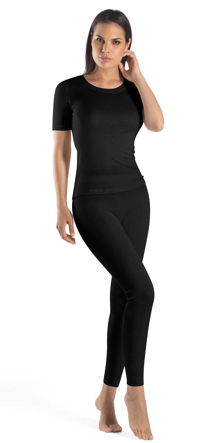 Hanro Women's Silk/Cashmere Short Sleeve Shirt 71654, Black, Large