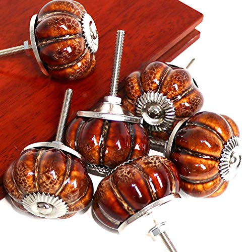 (SunKni 6 Pack Ceramic Glazed Pumpkin Knobs for Kitchen Cabinets Cupboard Bathroom Cabinet Dresser Drawers Wardrobe Closet Door Knobs Vintage Round Hardware Ceramic Furniture Knobs and Pulls (Brown))