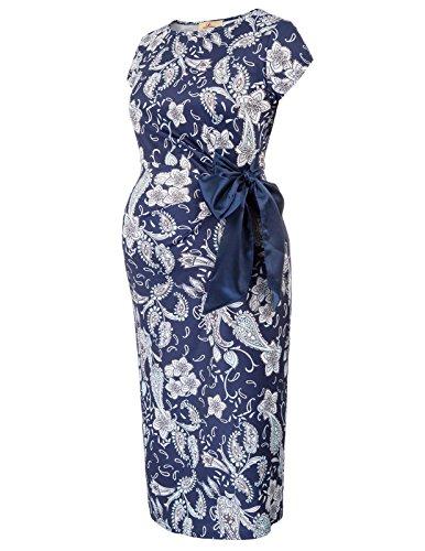 Abito Donna Incinta Con Vestiti Girocollo Blu Bodycon Karin Premaman Grace Stampa qEARYx