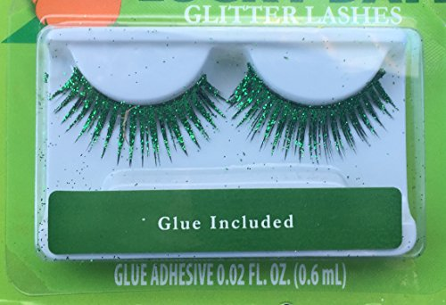 St. Patrick's Day Green Glitter Eyelashes ~ Glue Included ~ 1 Pair (Green Eyelashes)