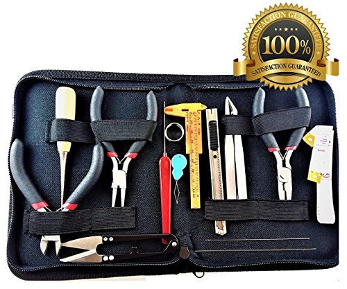 Best Professional Jewelry crafting and Making Tools Kit 16 Pieces Jewelry Making supplies Tools in Zippered Case | Jewelry Making Supplies | Professional Jewelry Crafting and Repair Beading