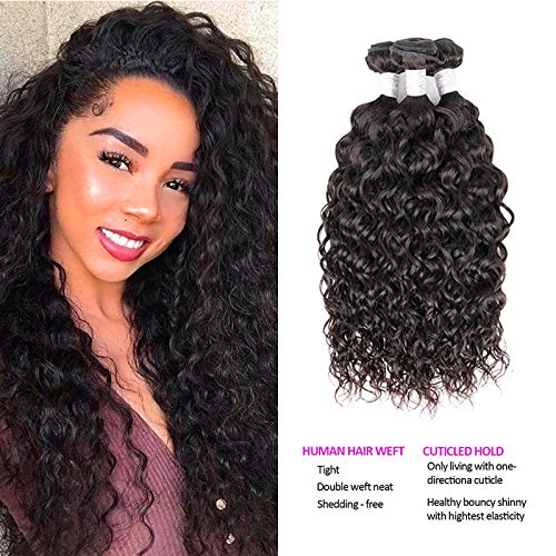 Dream Like Brazilian Hair Water Wave 3 Bundles (12 14 16,300g) Water Wave Virgin Hair Human Hair Bundles 10A 100% Unprocessed Hair Extensions Natural Black Color from Dream Like