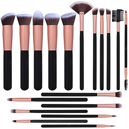 Professional 18 PCS Makeup Brushes Set Premium Synthetic Foundation Powder Kabuki Brushes Concealers Eye Shadows Make Up Brushes Kit - Rose gold