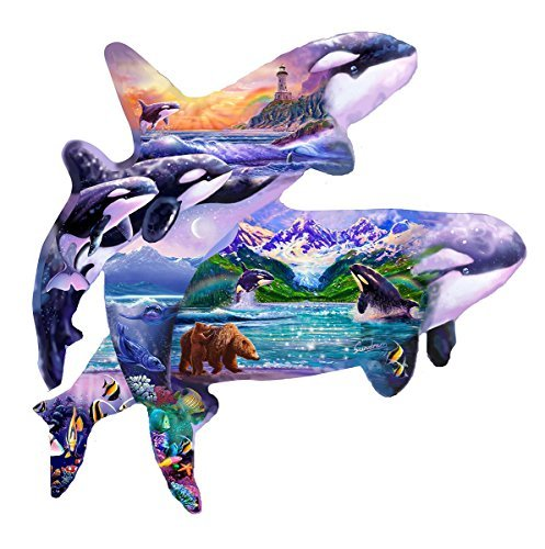 SunsOut Orca Habitat Shaped Jigsaw Puzzle