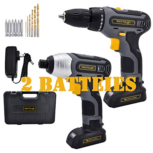 Tool Combo Kit 18V Drill Driver D011+IS02 Cordless Drill & Impact Screwdriver 1/4″ With Plastic Toolbox Storage Case By Uniteco (F06 Cordless Drill)