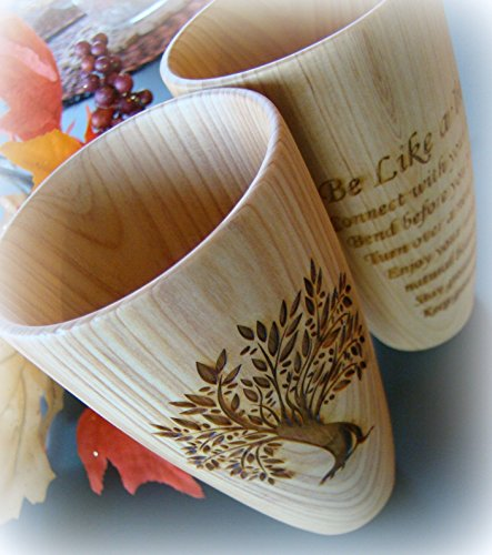 Natural Light Wooded Custom Engraved Tall Versatile Wood Cup (Wooded Olive)