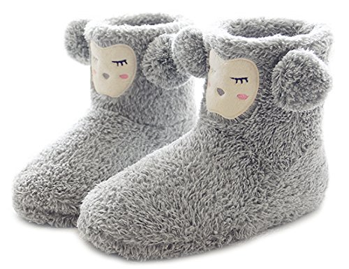 ChicNChic Women Slipper Boots Cozy Plush Animal Indoor Slippers Soft Sole House Shoes Booties (8-8.5 B(M) US, (Animal Booties)