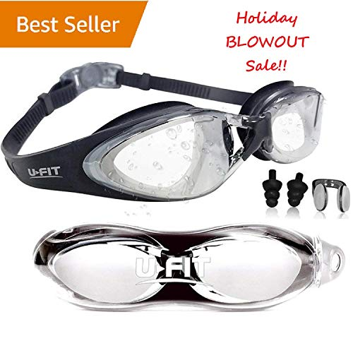 U-FIT Swimming Goggles - Swim Goggles for Men, Women, Adults, Youth, and Kids - Best Non Leaking, Anti-Fog, UV Protection, Clear Vision - Free Goggle Case (Black, Clear) no Ear and Nose Plug