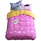 Mumgo HomeTextile Bedding Set for Adult Kids Good Night and Cloud Duvet Cover Set 100% Cotton 500 Thread Count,Twin Full/Queen King Set 3-4 Pieces (Twin Size(4Pc), Pink-Fitted Sheet)