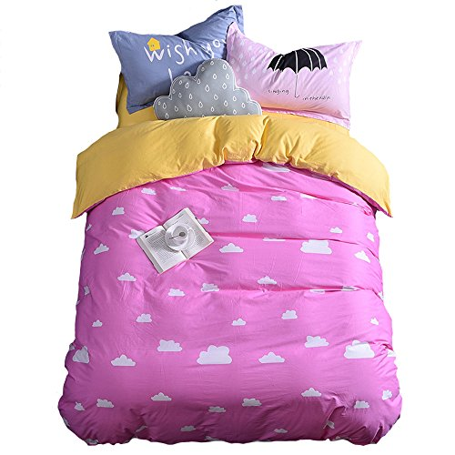 Mumgo HomeTextile Bedding Set for Adult Kids Good Night and Cloud Duvet Cover Set 100% Cotton 500 Thread Count,Twin Full/Queen King Set 3-4 Pieces (Twin Size(4Pc), Pink-Fitted Sheet) by Mumgo