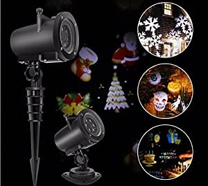 16 Pattern Lens Replaceable Colorful LED Rotating Laser Projector Lamp Outdoor Garden Christmas Landscape Projection Led Light night lamp of projection of the landscape