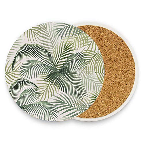 Palm Leaves Pattern Mockup Illustration Cork Coasters for Drinks Absorbent Cup Mat Drink Coaster for Home Restaurant Office and Bar, 4 Inches 1 Pack
