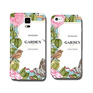 Invitation with hand-drawn roses, apples and birds. Vector. cell phone cover case Samsung S6